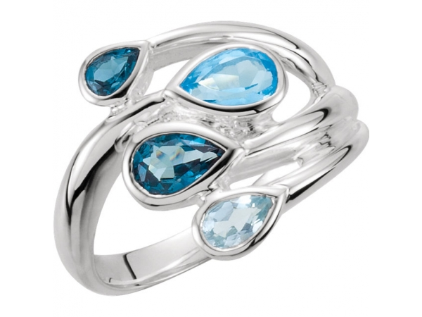 Fashion Rings - Sky Blue Topaz, London Blue Topaz & Swiss Blue Topaz Bypass Ring