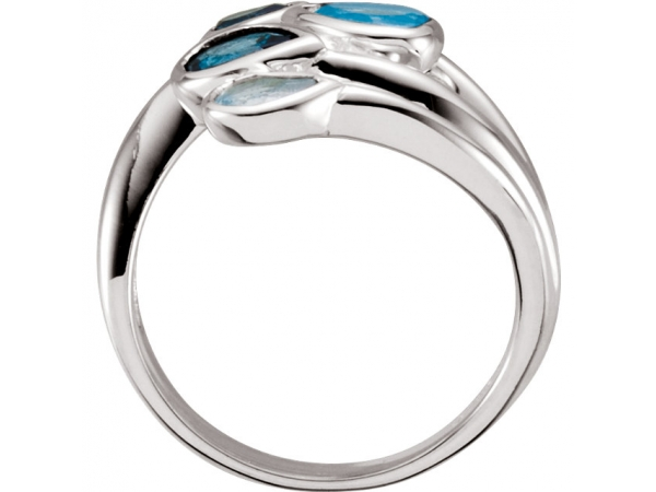 Fashion Rings - Sky Blue Topaz, London Blue Topaz & Swiss Blue Topaz Bypass Ring - image 2