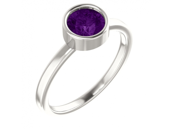 Bezel Set Solitaire Ring - Sterling Silver Imitation Amethyst Ring