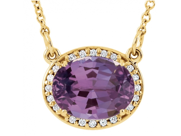 Halo-Style Necklace - 14K Yellow Amethyst & .05 CTW Diamond 16.5