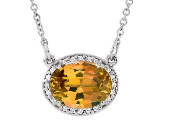 Halo-Style Necklace - 14K White Citrine & .05 CTW Diamond 16.5