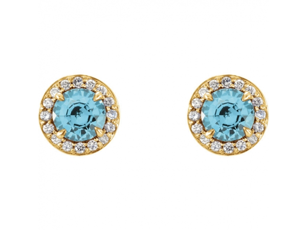 Gemstone Earrings - Genuine Blue Zircon Earrings - image #2