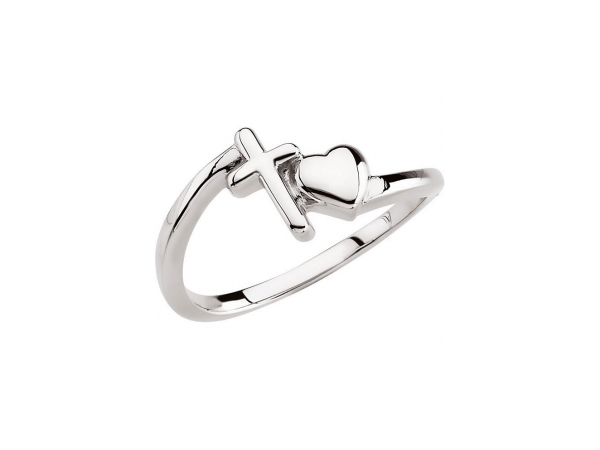 Cross & Heart Chastity Ring by Stuller