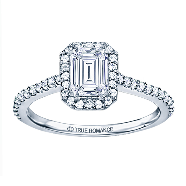 Rm1309e-14k White Gold Emerald Cut Halo Diamond Engagement Ring Timmreck & McNicol Jewelers McMinnville, OR