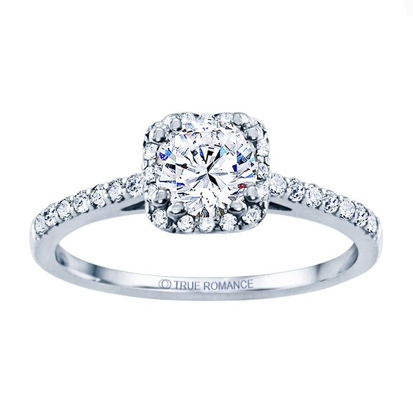 Rm1387-14k White Gold Round Cut Halo Diamond Engagement Ring Timmreck & McNicol Jewelers McMinnville, OR