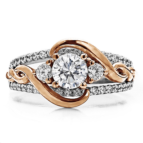 RM1546-14K White & Rose Gold Infinity Engagement Ring. Timmreck & McNicol Jewelers McMinnville, OR